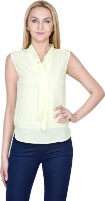 Golden Couture Casual, Festive, Formal, Lounge Wear, Party Sleeveless Solid Women's Light Green Top