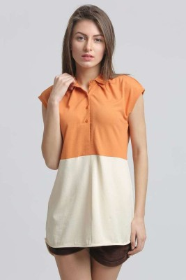 Moda Elementi Casual Short Sleeve Solid Women's Orange Top