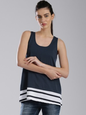 HRX by Hrithik Roshan Casual Sleeveless Solid Women's Blue Top