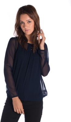 Miss Rich Casual Full Sleeve Solid Women's Blue Top