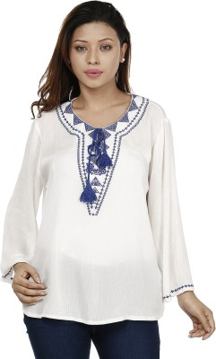 Miway Casual Full Sleeve Solid Women's Blue, White Top