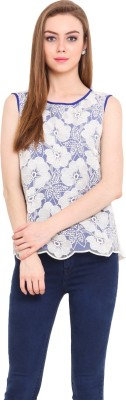 Pryma Donna Casual Sleeveless Solid Women's Blue, White Top