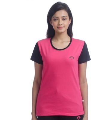Nite Flite Casual Short Sleeve Solid Women's Pink, Black Top