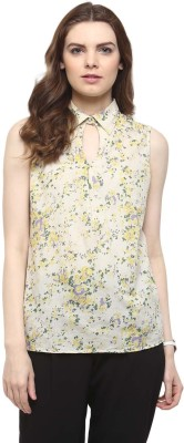 The Office Walk Formal Sleeveless Floral Print Women's Beige Top