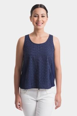 Bhane Casual Sleeveless Printed Women's Blue Top