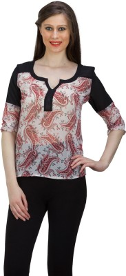 FASHIONHOLIC Casual 3/4 Sleeve Paisley Women's Black Top