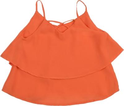 Addyvero Casual Sleeveless Solid Girl's Orange Top