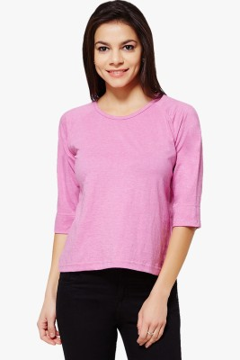 PNY Casual 3/4 Sleeve Solid Women,s Pink Top