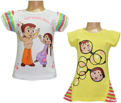Chhota Bheem Casual Short Sleeve Printed Girl's Yellow, White Top