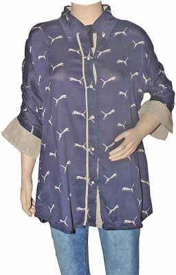 Port Formal Full Sleeve Printed Women's Blue Top