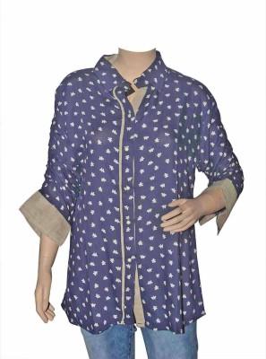 Port Women's Floral Print Casual Blue Shirt