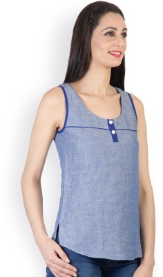 Tops and Tunics Casual Sleeveless Solid Women's Blue Top