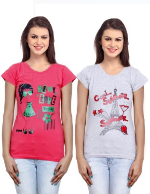 IndiWeaves Casual Short Sleeve Printed Girl's Pink, Grey Top