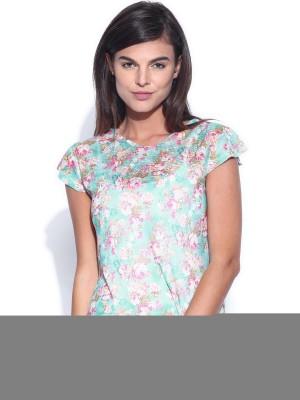 Dressberry Casual Short Sleeve Printed Women's Dark Green Top