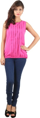 UVR Casual Sleeveless Solid Women's Pink Top