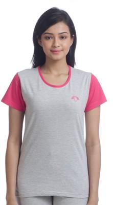 Nite Flite Casual Short Sleeve Solid Women's Grey, Pink Top