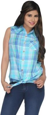 Fashion Wardrobe Women's Checkered Casual Light Blue, White Shirt