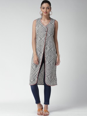 Anouk Casual Sleeveless Printed Women's White Top