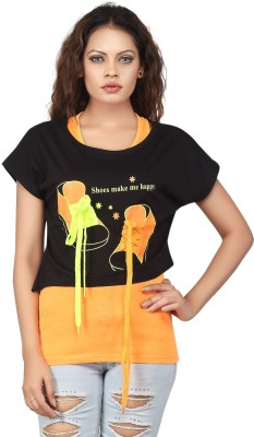 Famglam Casual Short Sleeve Printed Women's Yellow Top