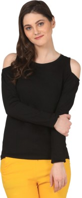 FashionExpo Casual Full Sleeve Solid Women's Black Top