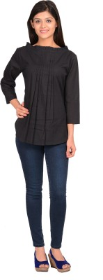 Sale Mantra Casual 3/4 Sleeve Solid Girl's Black, Black Top