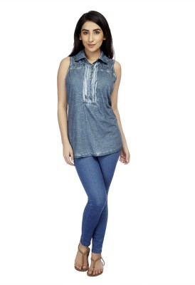 True Fashion Casual Sleeveless Solid Women's Dark Blue Top