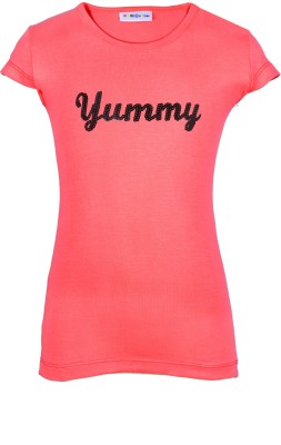 Lil Orchids Casual Cap sleeve Embroidered Girl's Pink Top