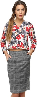 Vodka Fashion India Casual 3/4 Sleeve Floral Print Women's Red Top