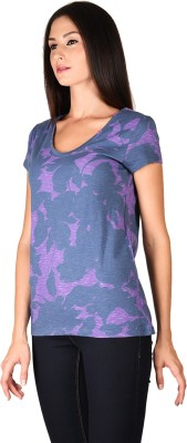 Curvy Q Casual Short Sleeve Printed Women's Blue, Purple Top