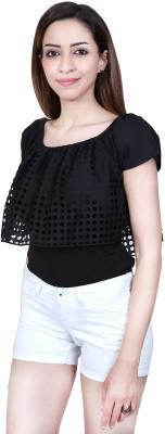 Urban Religion Casual, Festive, Party, Wedding Short Sleeve Self Design Girl's Black Top