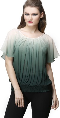 Desert Rose Party Short Sleeve Solid Women's Green Top