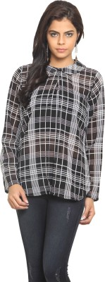 Desi Urban Casual Full Sleeve Checkered Women's Black Top