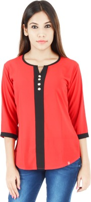 Integriti Casual Full Sleeve Solid Women,s Red Top