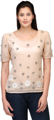 Lmode Casual, Party Short Sleeve Embellished Women's Beige Top