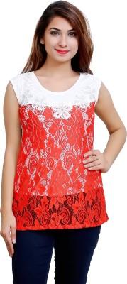 Blinkin Casual Sleeveless Woven Women's Red Top