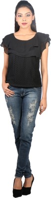 Showoff Casual Sleeveless Solid Women's Black Top