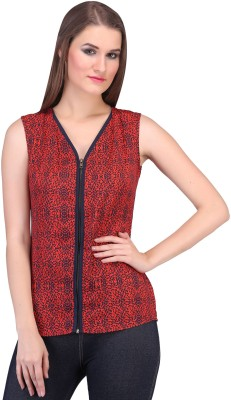 Rute Party Sleeveless Printed Womens Red Top