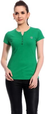 Rose Taylor Casual Short Sleeve Solid Women's Green Top