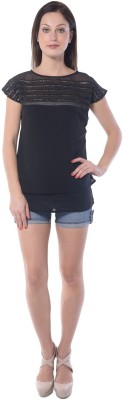 Florrie Fusion Casual Short Sleeve Solid Women's Black Top