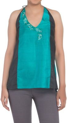 Kosa Casual Sleeveless Solid Women,s Blue, Black Top