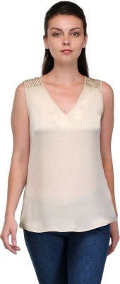 Enchanted Drapes Casual Sleeveless Solid Women's Beige Top