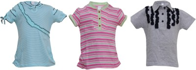 Most Wanted Casual Short Sleeve Solid, Embellished Girl's Multicolor Top