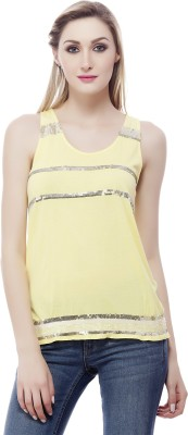 Clo Clu Party Sleeveless Embellished Women,s Yellow Top