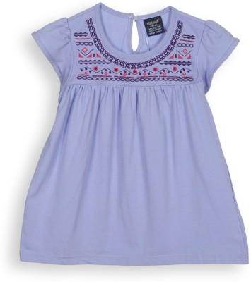 Lilliput Casual Short Sleeve Embroidered Girl's Purple Top