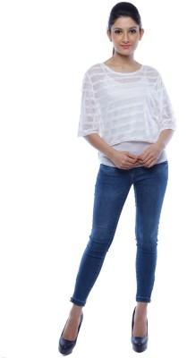 Designeez Casual Short Sleeve Striped Women's White Top