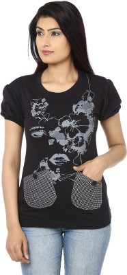Adhaans Casual Short Sleeve Printed Women's Black Top