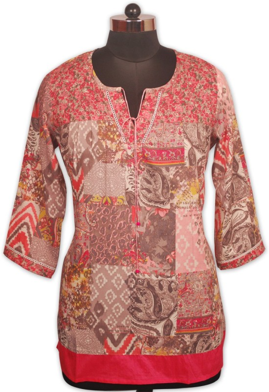 Indian Rain Casual 3/4th Sleeve Printed Women's Pink Top