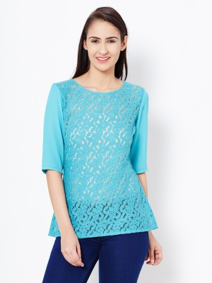 The Vanca Casual 3/4 Sleeve Solid Women's Blue Top
