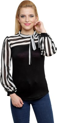 Anj Casual Full Sleeve Striped Women's Black Top