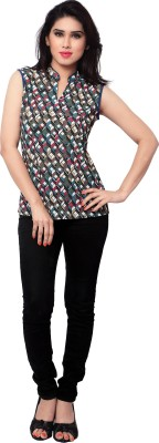 SFDS Casual Sleeveless Printed Women's Multicolor Top